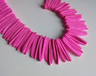 Pink Wood Stick Beads - coconut indian stick 1 1/8 inch - 25pcs