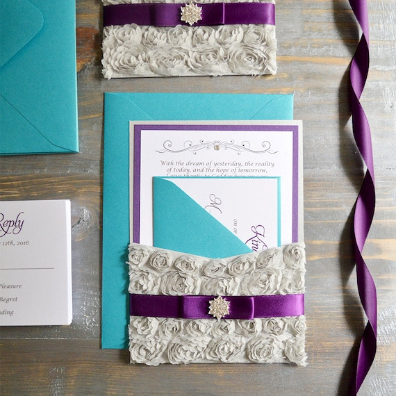 Silver Rosette Quince Invitation - Purple and Teal Pocket Invitation - Quinceanera Invite with Swarovski Crystal Sweet Sixteen-  (NOEMI)