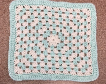 White and Mint Barbie Doll Blanket - Granny Square - Hand Crochet