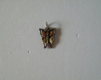 Antique 12k Solid Gold and Sterling Butterfly motif Pendant