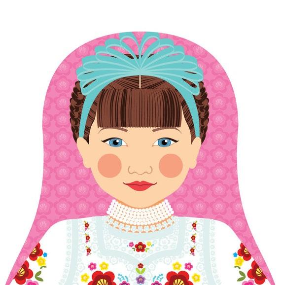 Hungarian Doll Art Print with traditional folk dress, matryoshka