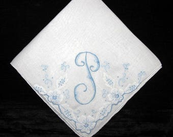 Wedding Handkerchief, Personalized Initial Letter, Vintage Wedding Hankerchief