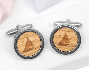 Sailing Boat Cufflinks, Wooden Nautical Cufflinks, Custom Engraved Cufflinks, Boat Cufflinks, Sailing Gift, Wooden Sailing Boat Cufflinks