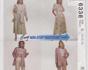 Misses Wardrobe Pattern Skirt Blouse Jacket Pants Size 12 - 16 uncut McCalls 6338