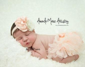 Baby Girl tutu Bloomer and HEADBAND Set- baby girl Headband, Baby Girl set, Photo Prop Set, Newborn Photos, Cake smash-Ready to ship