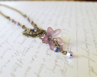 Purple Lucite Flower Necklace, Watch Gear Necklace, Vintage Style Necklace