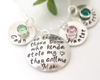 There's These Boys Necklace  - There's This Boy Necklace - Calls Me Mom Necklace - Mom of Boys - Sterling Silver - Personalized Jewelry