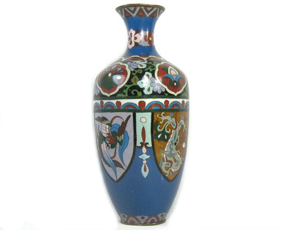 Antique Japanese Cloisonne Vase from Meiji Period with Dragon and Phoenix Decoration