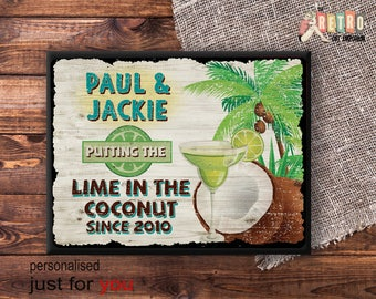 Tropical Bar Sign, Lime in the Coconut, metal wall plaque, retro style, custom bar sign, Personalised Tiki, Vintage Metal Sign, Beach Bar