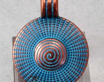 Boho Pendant With Bail, Antique Copper & Blue Patina, AC198