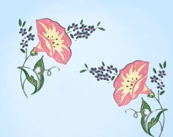 1950s Vintage Mail Order Color Transfer 325 Morning Glory Flowers Uncut Original