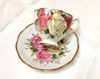 Vintage English Bone China Teacup, Queen Anne China Lady Sylvia Teacup, Beautiful Roses, 1950s, Excellent Condition