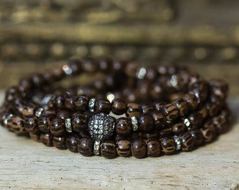 Wood Bead Bracelet, Wrap Bracelet, Crystal Bracelet, Beaded Bracelet, Boho Jewelry, Layering Bracelet, Stack Bracelet, Simple Bracelet, Boho