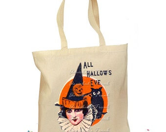 """Trick or Treat Bag Halloween """"All Hallows Eve"""" Vintage Tote Candy Retro Personalized"""