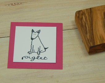 Charity Stamp Custom Sitting Bull Terrier Olive Wood Stamp