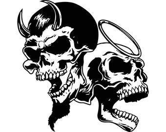 Good vs Evil Skull decal