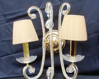 pair of sconces in gilt metal with Swarovski crystals and hat lamp shade with precious fabric, precious appliques still new wedding gift