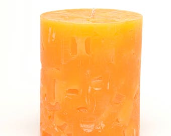 Cosmic Candles Orange Chunk Pillar Unscented 3x4