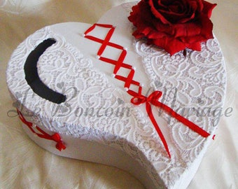 urn wedding Red Ribbon with red rose heart accompanied by white lace