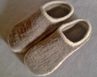 Wool Slippers Free Shipping wool shoes custom order oatmeal mens womens slippers felted wool shoes house shoes felted boiled wool slippers