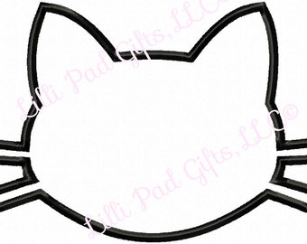 Cat Head - Blank - Applique - Machine Embroidery - 6 different sizes
