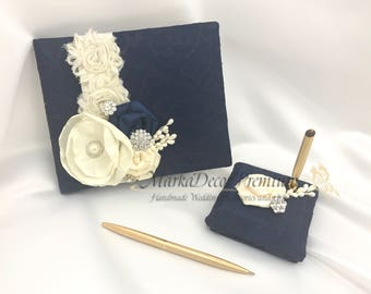 Wedding Lace Guest Book Custom Bridal Books Birthday Flower Brooch Guest Books and Pen Set in Navy and Ivory with Handmade Flowers