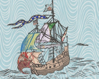 Sailing Ship XXV - Block Print with Mixed Papers - Lino Block Print Historic Sailing Ship on Collaged Japanese Papers & Ephemera