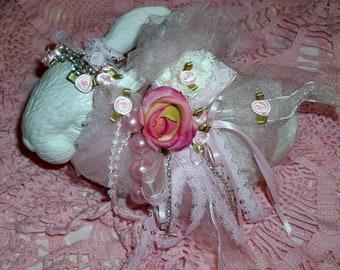 Ceramic Rabbit, Embellished Bunny, Easter Bunny, Shabby Chic bunny, Easter Decor
