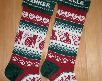 Personalized Cat stocking with choice of cat design