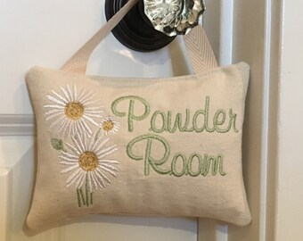 Powder room sign, Powder room door hanger, Powder Room Door sign, Bathroom door sign, Bathroom accessory, Bathroom Decoration, Daisy