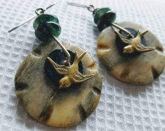 Flying Birds on a Wire Handmade Earrings
