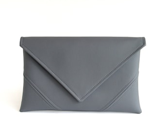 Grey Clutch Bag Gray Purse Wristlet Purse Vegan Leather Clutch Evening Clutch Purse Gift For Her Vegan Bag Bridesmaid Clutch Casual Handbag