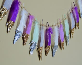 Glitter Dipped Feather Banner Garland Boho Decor Party Nursery Wedding Backdrop Photo prop Birthday Cake smash Baby Shower Boho Wild One