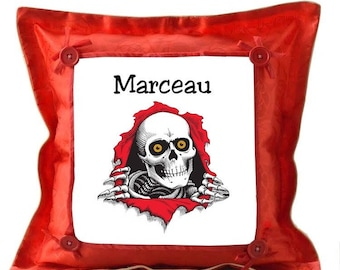 Red cushion skull personalized with name
