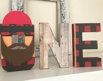 Lumber theme ONE letters , photo props