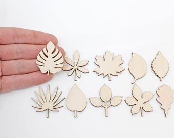10x Wooden Leaves (4cm) Embellishments Shapes Art Projects Craft  Decoration Gift Decoupage Ornament MG000727