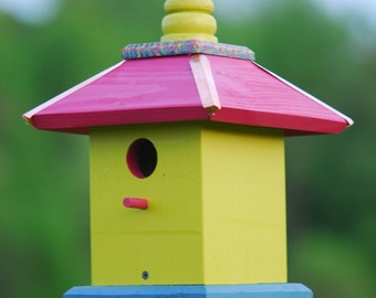 Hanging Bird House, Painted Birdhouse, Wooden Bird Houses, Gift Ideas
