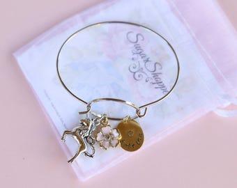 Unicorn Bracelet, Personalized, Hand Stamped Bracelet, Kid's Bracelet, Unicorn Party Favor, Girl's Jewelry, Birthday, Stocking Stuffer