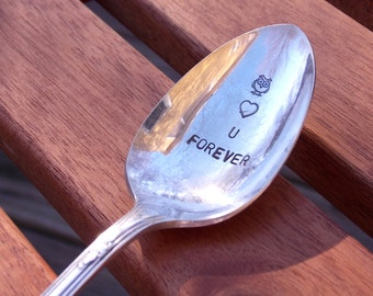 Owl Love You Forever, stamped coffee spoon - Hand Stamped Vintage Silverware, owl gift