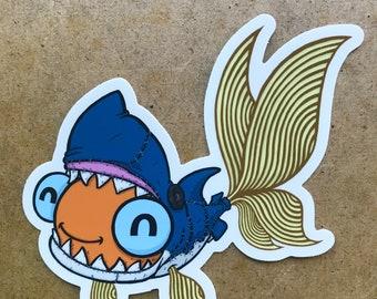 Goldfish Shark Cosplay Sticker