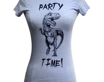 DINOSAUR T-Shirt - Party Time Dino T-Shirt (Available in sizes S, M, L, XL, 2XL)