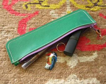 Rainbow pouch - Green leather with purple zip - pen case, coin purse, cosmetics case