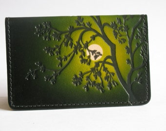 Leather Business Card Case / Moonlit Cottonwood