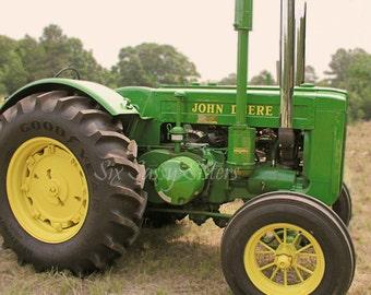 Tractor Print, Farmhouse Decor, Vintage Tractor, Farm Photography, Rustic Wall Decor, Nursery Decor, Green, Primative Wall Art, Yellow