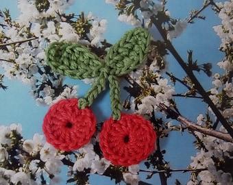 Crochet red cherries