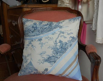 Cushion cover in canvas of Jouy 40/40