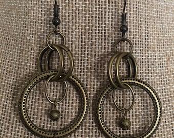 Bronze Hoop Linked Earrings