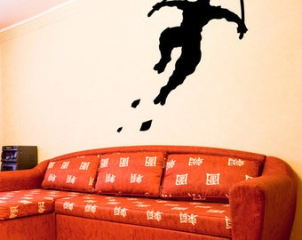Vinyl Wall Decal Sticker Ninja Jumping Sword GFoster111A