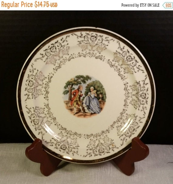 Delayed Shipping Taylor Smith Taylor Cameo Plate Vintage 22K Gold Warranted Salad Dessert Plate TST 9511 Gold Trim Victorian Colonial Gift f