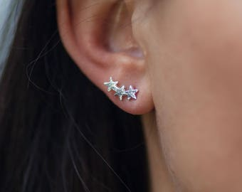 Stud | free shipping | earring | silver | minimalistic | 3 stars